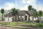 A Covered Arched Entry Captures This Sunbelt Home's Façade