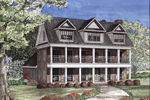Traditional Southern Plantation Home With Two Covered Front Porches