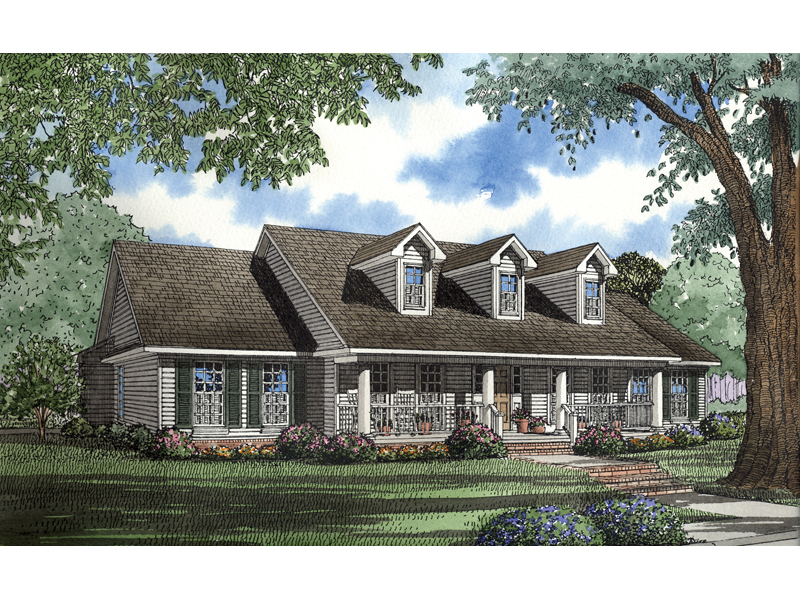 Julien cape cod ranch home plan 055d 0546 house plans for 2 story house plans with dormers