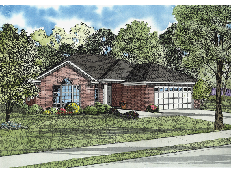 Hillsgate one story home plan 055d 0565 house plans and more for 1 story brick house plans