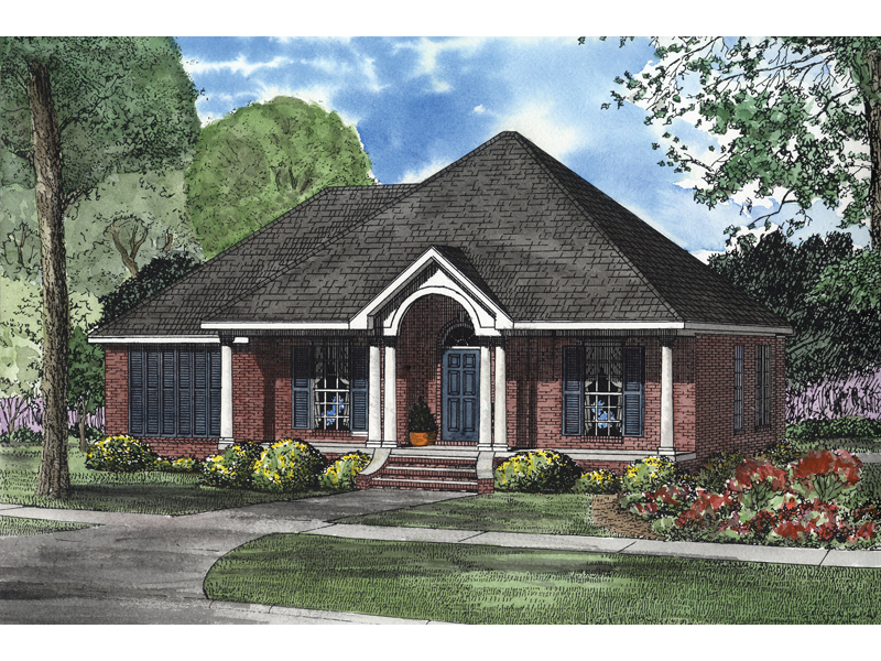 Brick Ranch With Dramatic Arched Columned Entry