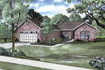 Brick Ranch House With Front Loading Garage