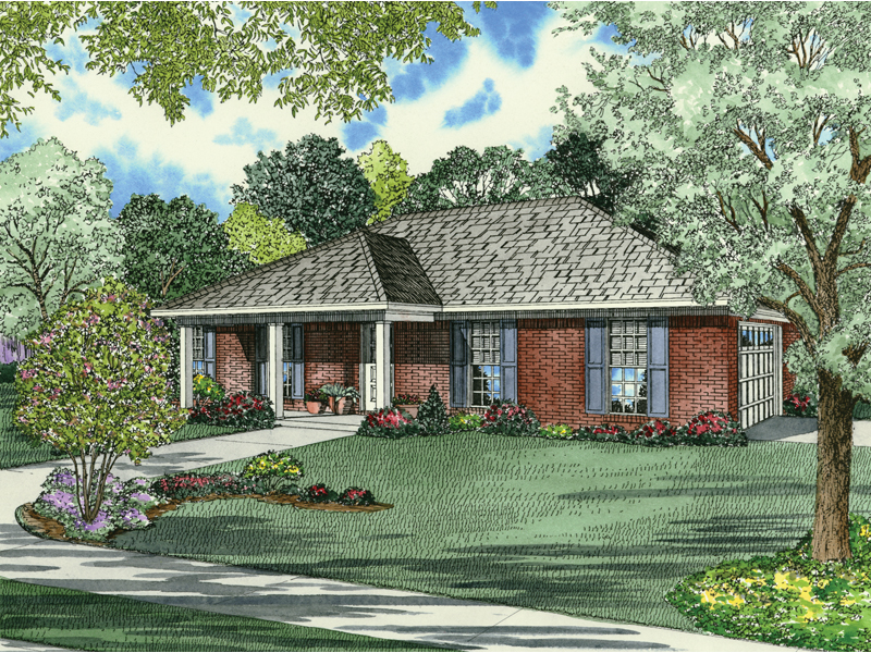 Brick Ranch House Has Extended Covered Front Porch