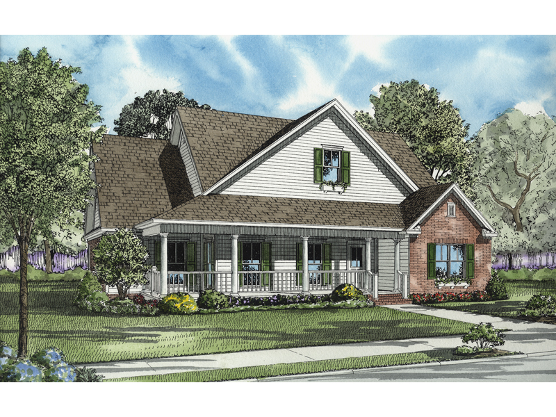 Country Style House Has Wrap-Around Front Porch