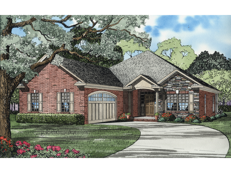 Conneaut lake ranch home plan 055d 0624 house plans and more for Ranch style house plans with garage on side