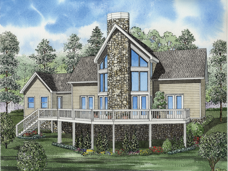 Rustic Stone A-Frame Style Windows Are Focal Point Of This Home