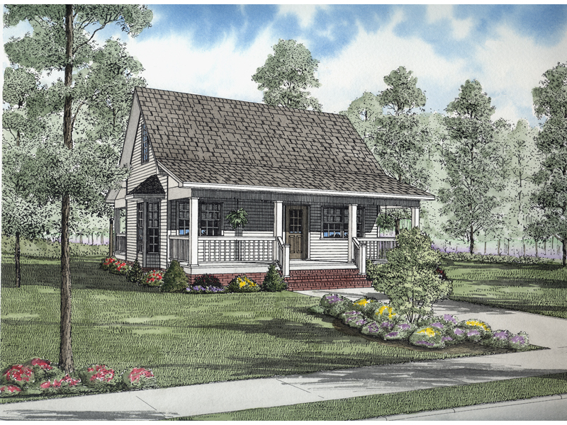 Saltbox House Plan Front of Home 055D-0632