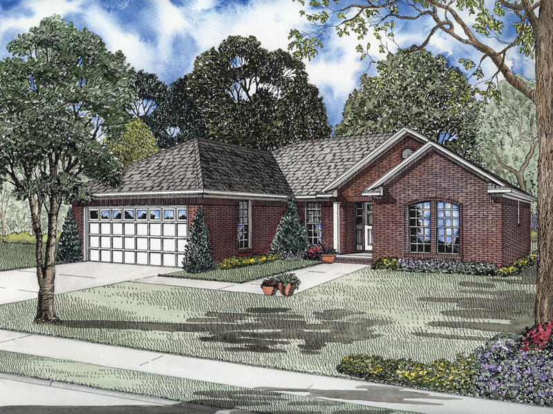 Popular Brick Ranch House With Front Loading Garage