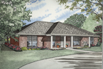 Columned Porch Captures This Brick Ranch Home's Façade