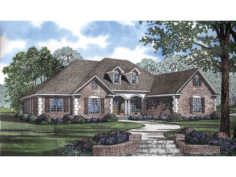 Country French House Plan Front Image   055D 0682 | House Plans And More