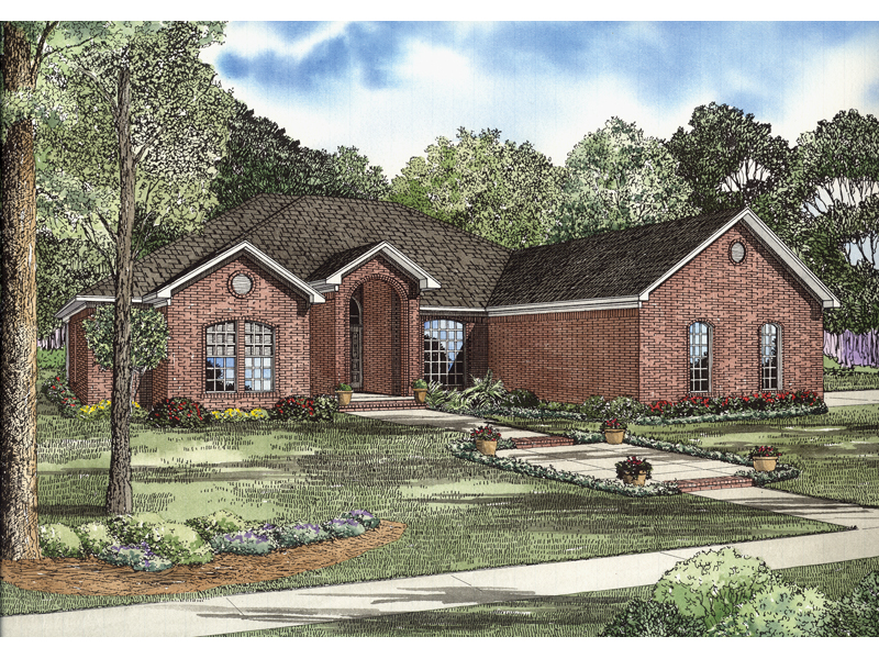 Gilbert brick ranch home plan 055d 0739 house plans and more for 1 story brick house plans