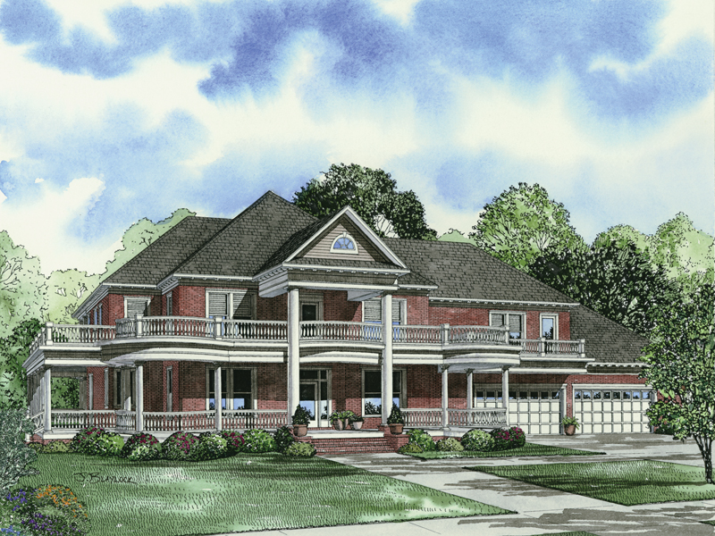 Southern Plantation Plan Front of Home 055D-0745