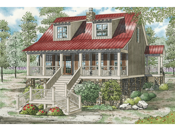 Leslie pier raised cottage home plan 055d 0816 house for Raised cottage house plans