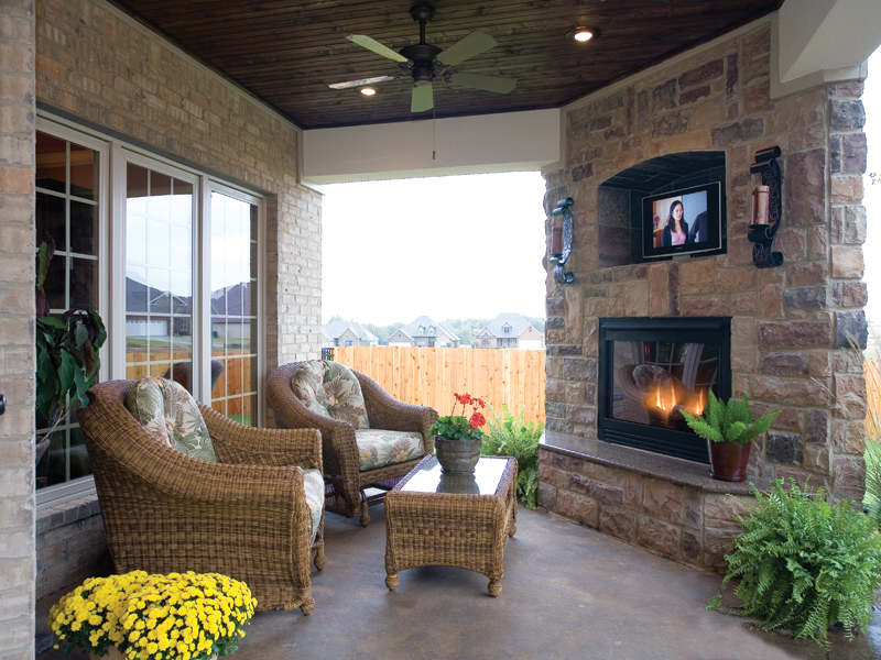 European house plan outdoor living photo 01 plan 055d 0817 for European home fireplace