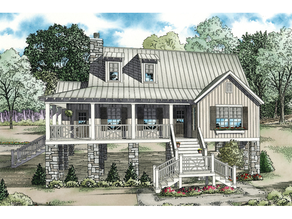 Leslie pier raised cottage home plan 055d 0816 house plans for Raised home designs