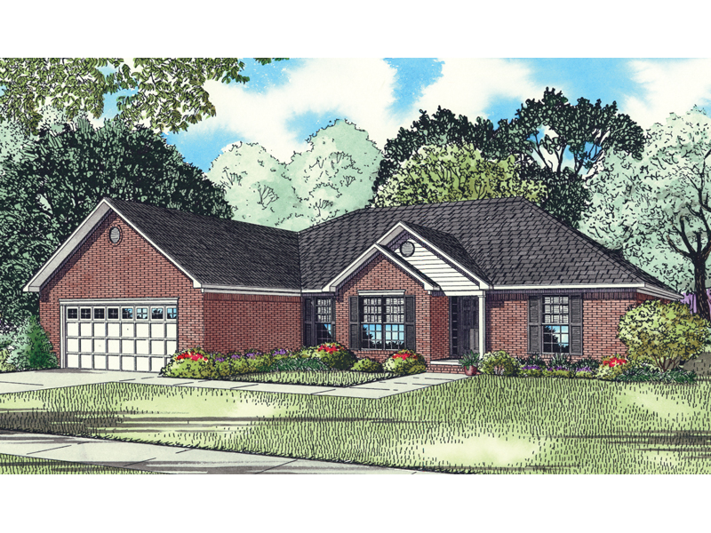 Ranch House Plan Front of Home - 055D-0851 | House Plans and More