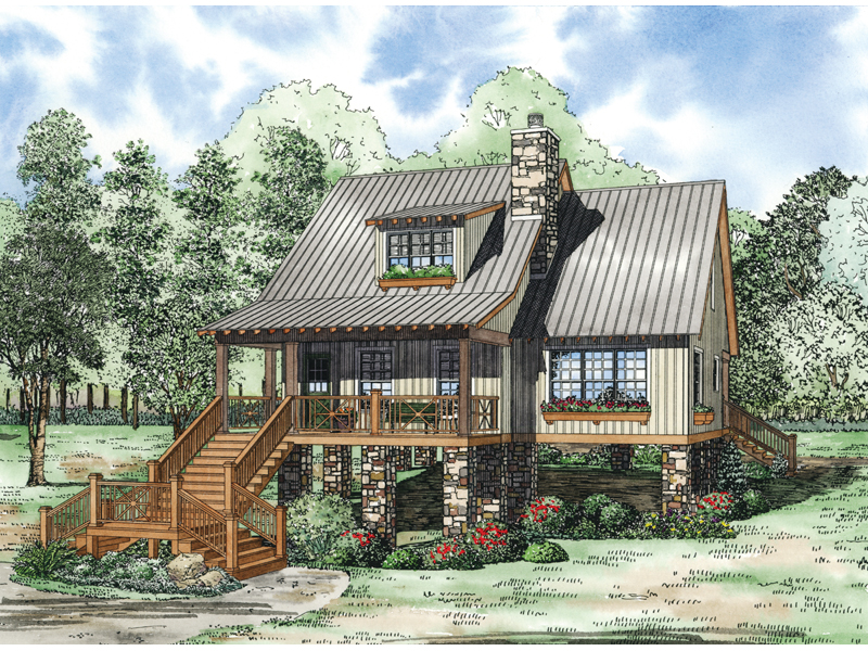 Rustic Craftsman Influenced Home With Prominent Staircase