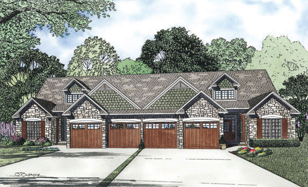 Arts and Crafts House Plan Front of Home 055D-0866