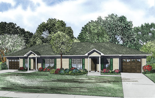 Bordeau ranch duplex home plan 055d 0874 house plans and Ranch style duplex plans