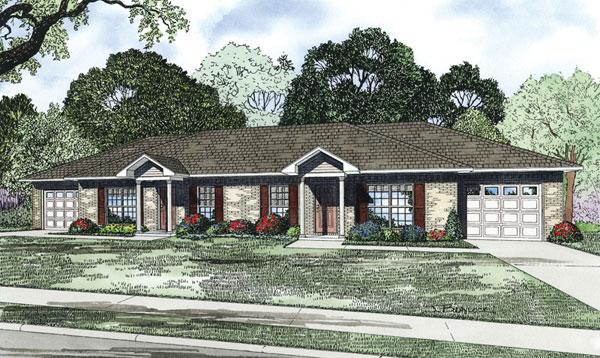 Hallmark classic ranch duplex plan 055d 0890 house plans for Classic ranch house plans