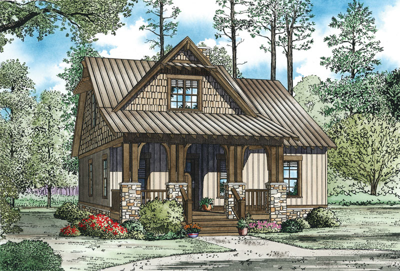 Cabin & Cottage House Plan Front of Home - 055D-0892 | House Plans and More