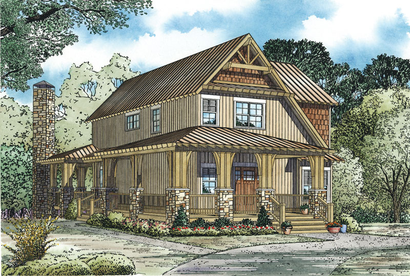 Rustic Home Plan Front of Home - 055D-0893 | House Plans and More