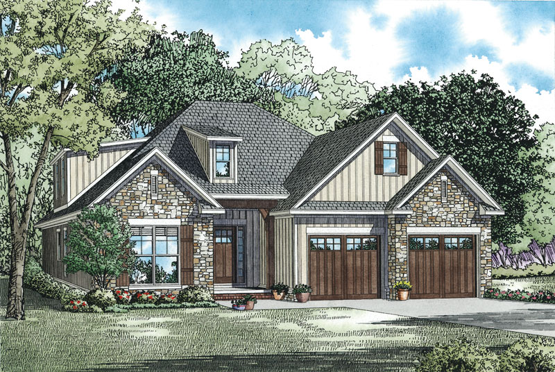 Rustic Home Plan Front of Home - 055D-0906 | House Plans and More