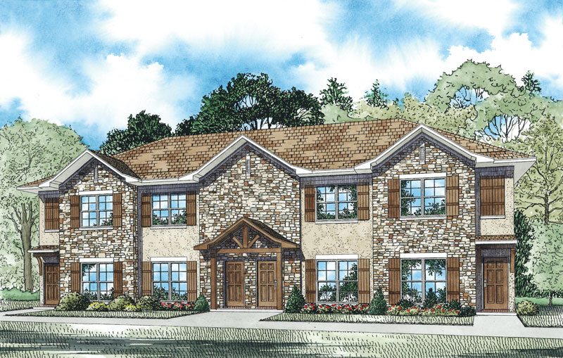 Multi-Family House Plan Front of Home 055D-0908