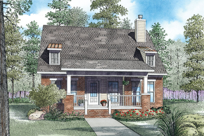 Farmhouse Plan Front of Home - 055D-0910 | House Plans and More