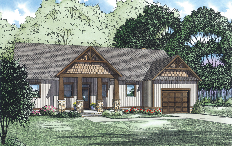 Rustic Home Plan Front of Home - 055D-0933 | House Plans and More