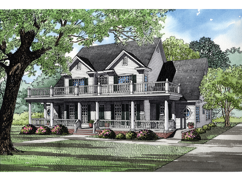 Plantation House Plan Front of Home 055S-0001