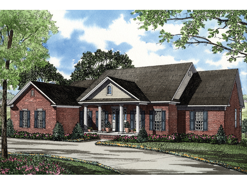 Country Style Ranch Has Covered Front Porch With Pillars