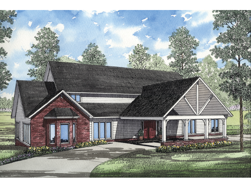Traditional House Plan Front of Home 055S-0026