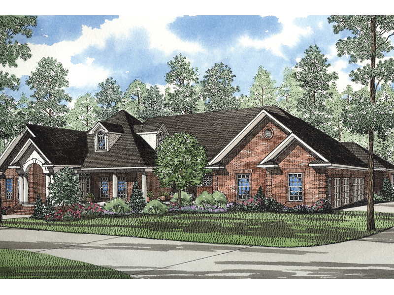 Ranch House Plan Front of Home 055S-0031
