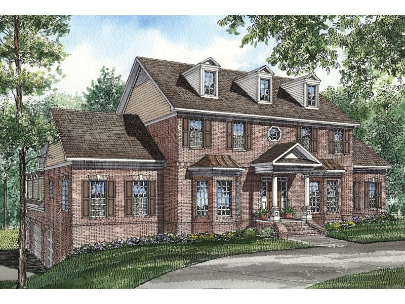Colonial House Plan Front of Home 055S-0034