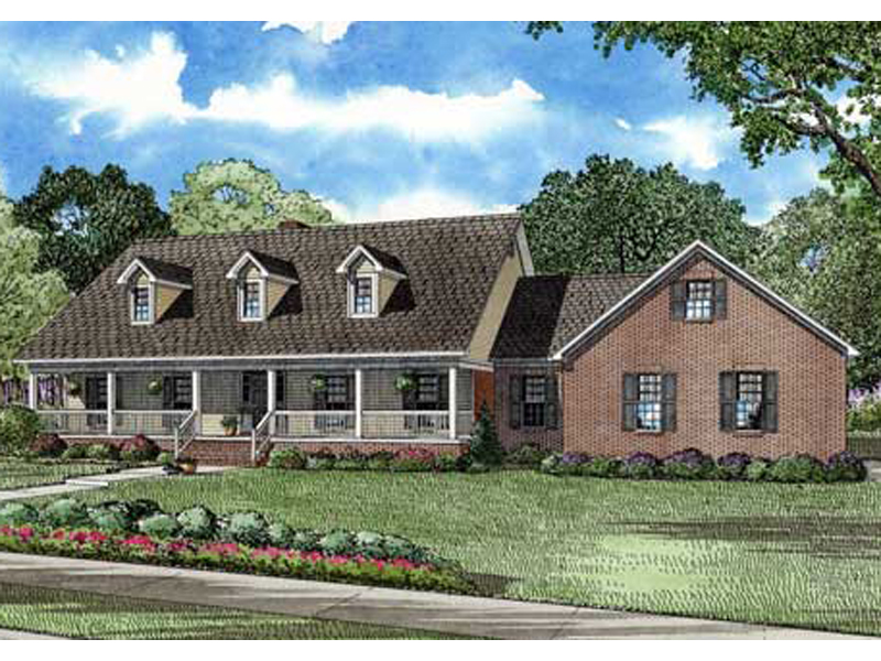 country style home has sweeping front porch with outdoor living - Country Style House Plans