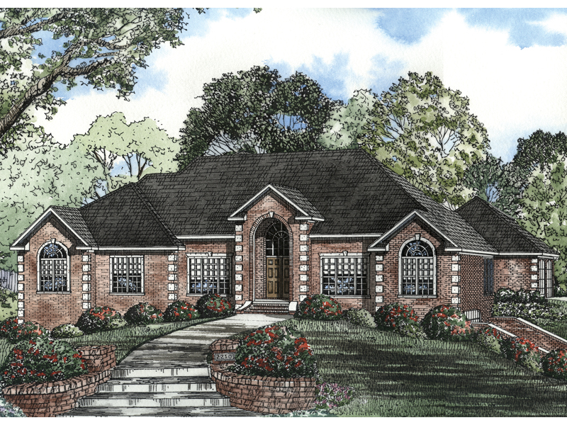 Leroux brick ranch home plan 055s 0046 house plans and more for Brick home floor plans with pictures