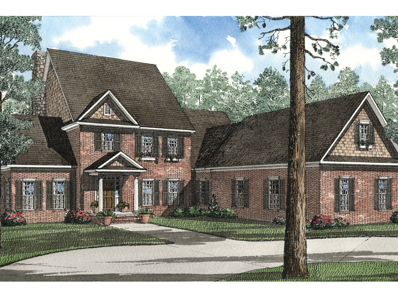 Colonial House Plan Front of Home 055S-0051