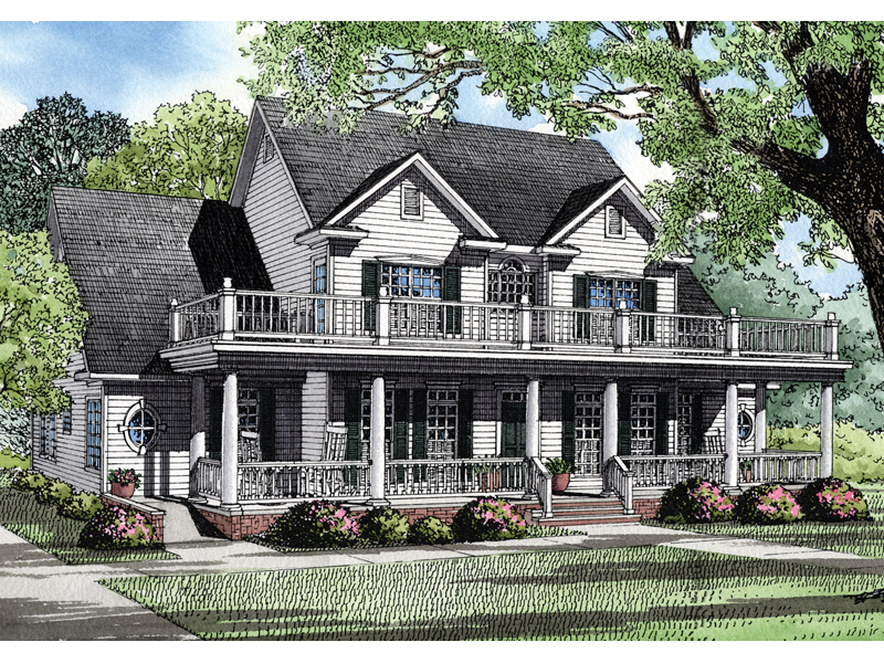 Plantation House Plan Front of Home 055S-0053