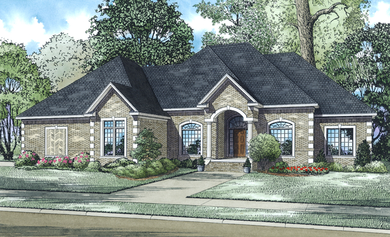 Stylish Brick Ranch Home With Arched Entryway