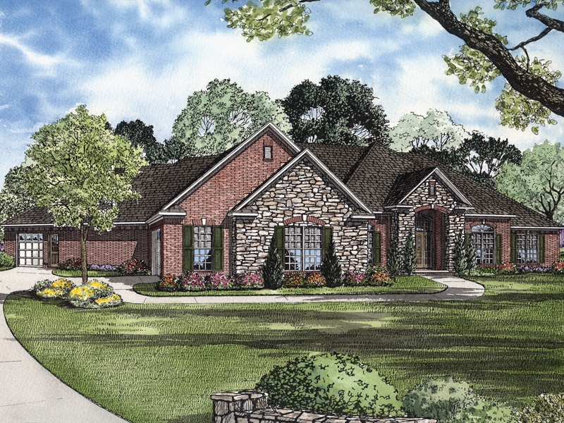 stone and brick are a great exterior combination for this ranch house - Brick English Home Plans