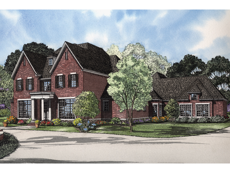 Luxury Brick Traditional Two-Story House