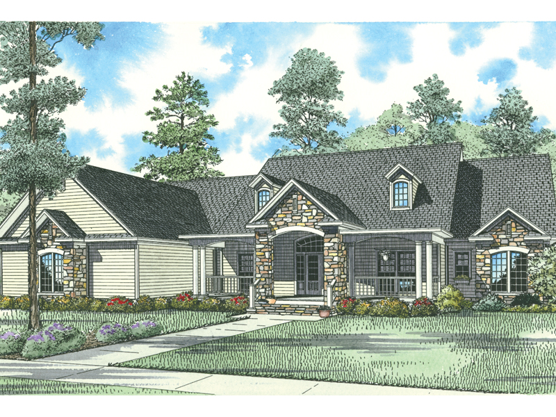 Country House Plan Front of Home - 055S-0074 | House Plans and More
