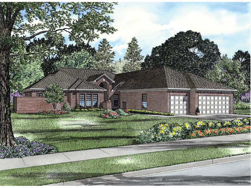 Ranch House Plan Front of Home - 055S-0102 | House Plans and More