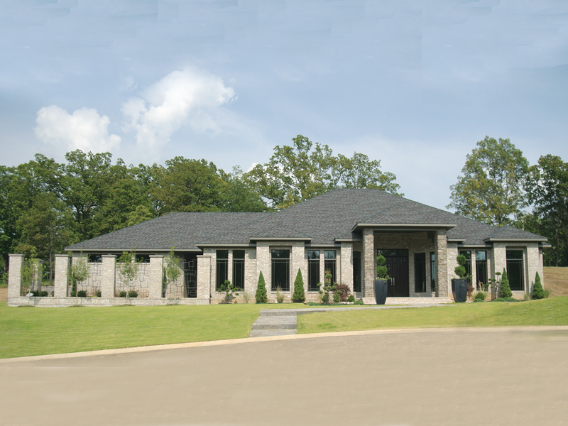 Prairie Style Floor Plan Front Photo 01 055S-0105