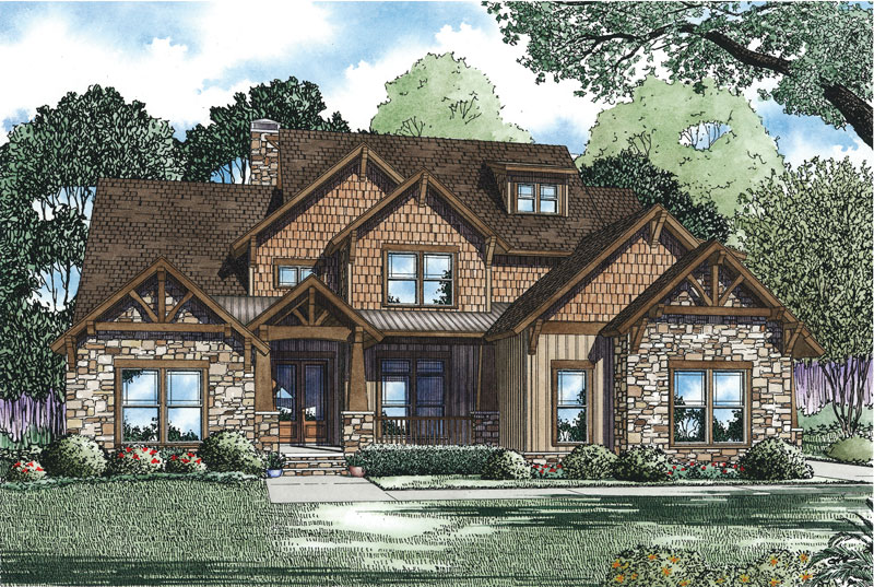Craftsman House Plan Front of Home - 055S-0113 | House Plans and More