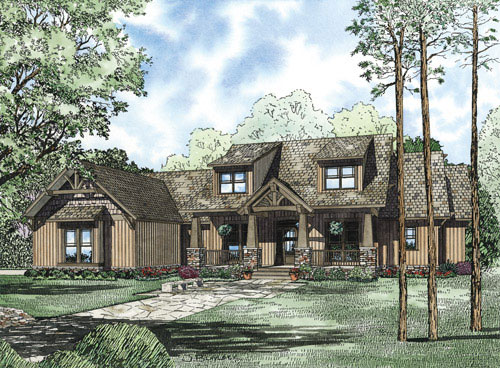 Ranch House Plan Front of Home - 055S-0117 | House Plans and More