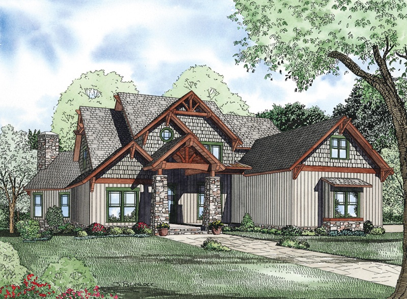 Arts and Crafts House Plan Front of Home 055S-0118