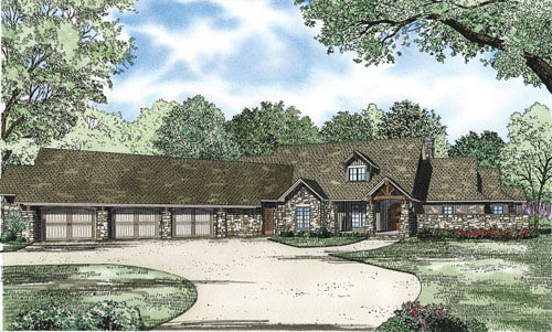 Ranch House Plan Front of Home 055S-0119