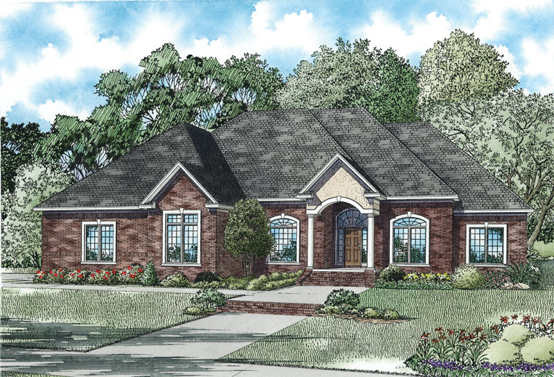 Traditional House Plan Front of Home 055S-0124